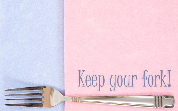 "Fork with caption ""Keep your fork!"""