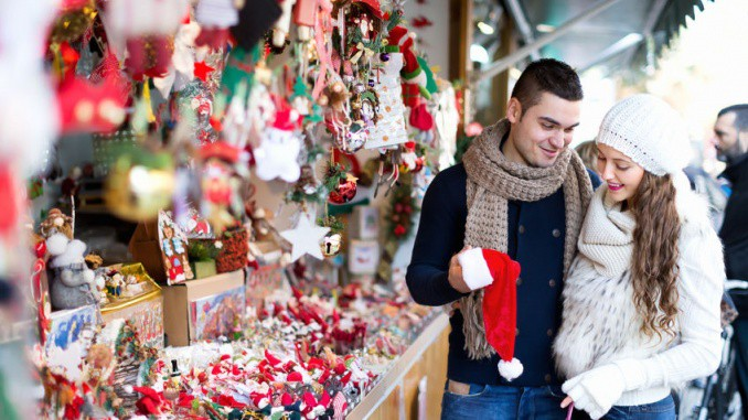 Couple shopping at holiday fair