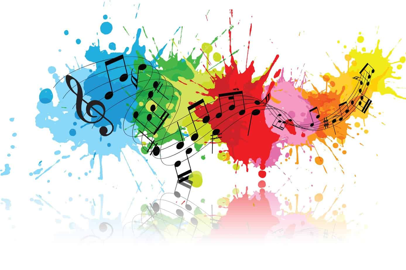 Music notes watercolor splash
