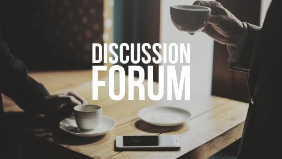 """Discussion Forum"" over two people talking and drinking coffee"
