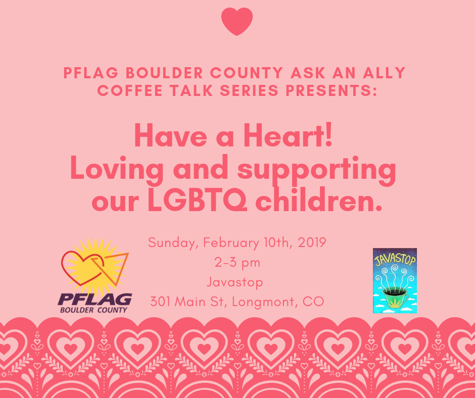 PFLAG Boulder county ask an ally coffee talk