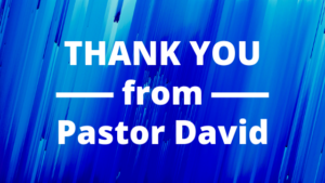 Thank you from Pastor David